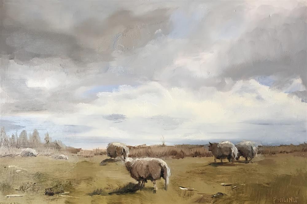 """Sheep in the Alde Feanen nature reserve"" original fine art by Philine van der Vegte"