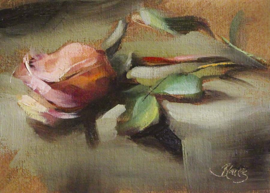 """Peach Rose"" original fine art by Pamela Blaies"