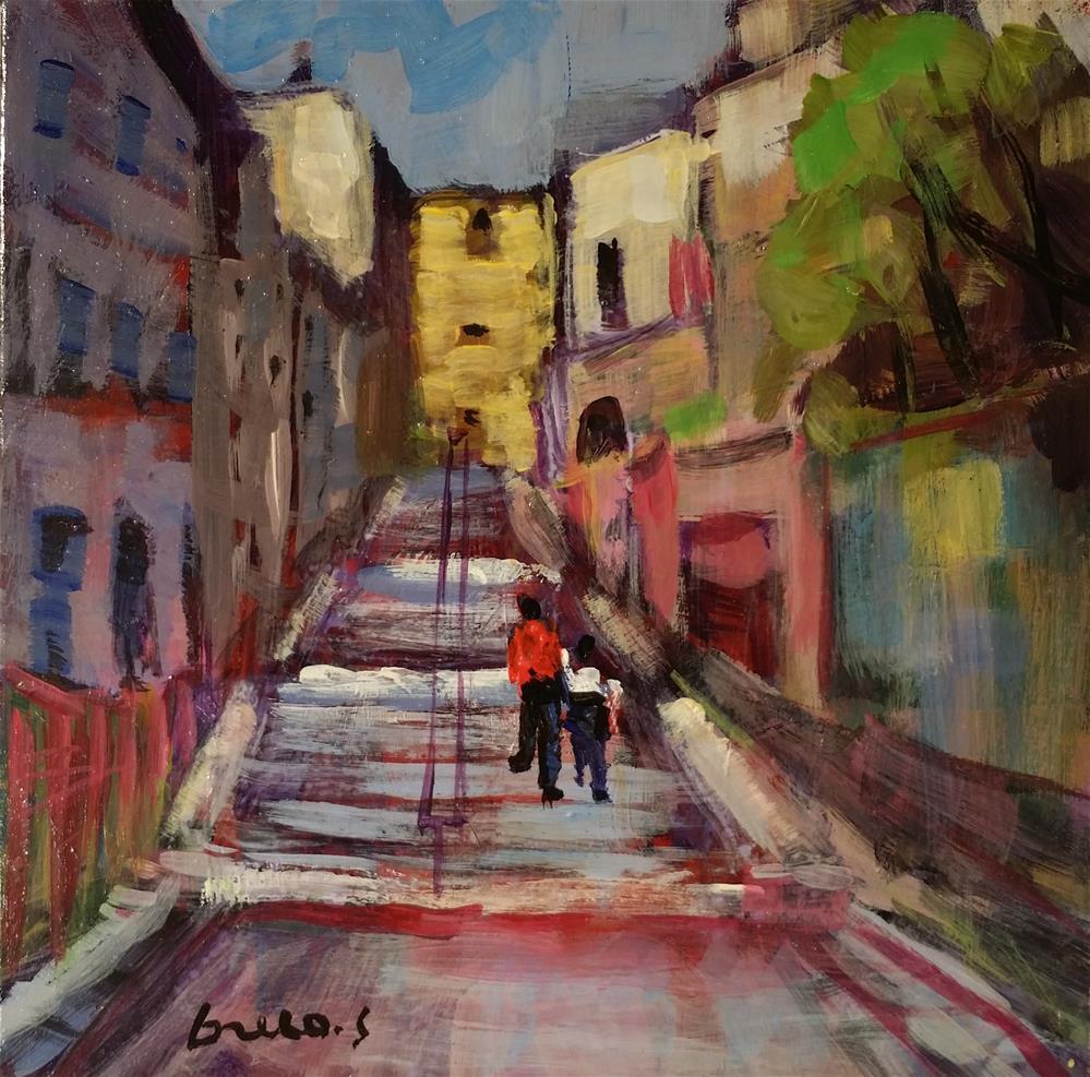 """up to Montmartre ( Paris )"" original fine art by salvatore greco"