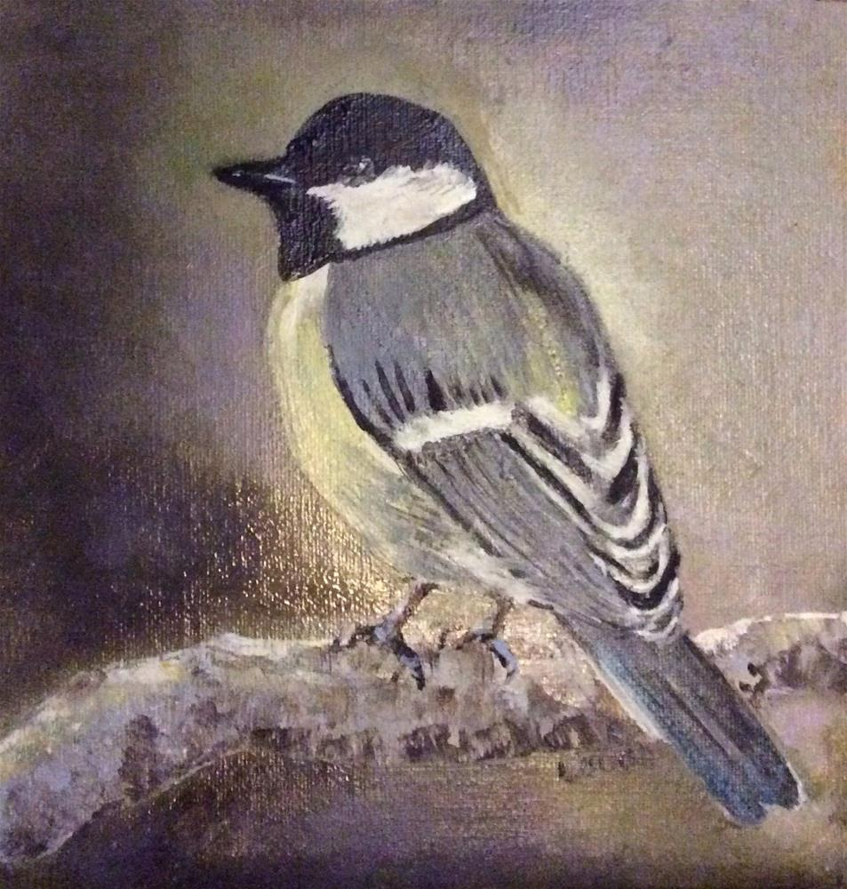 """Chickadee"" original fine art by Charlotte Lough"