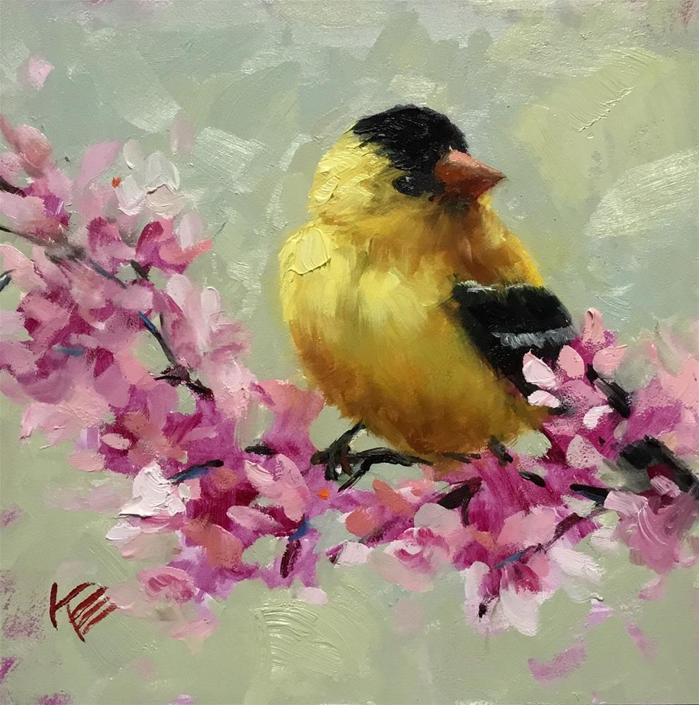 """Goldfinch & Lilacs"" original fine art by Krista Eaton"