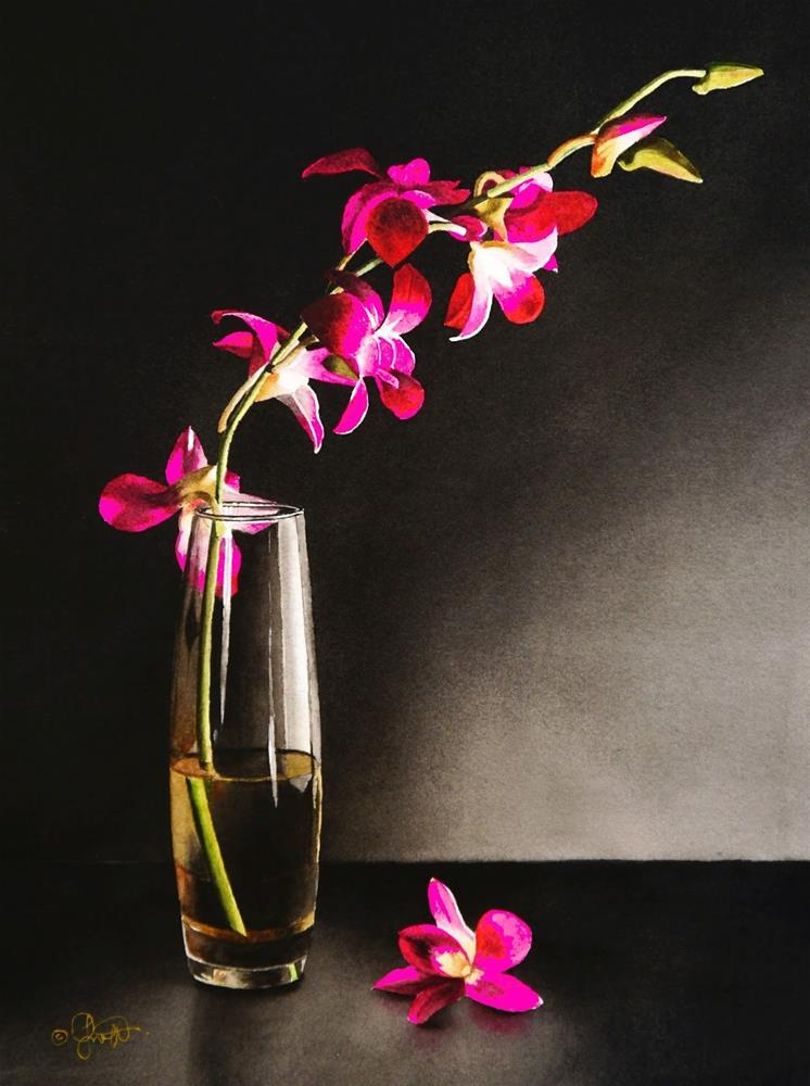 """Still Life with Orchids"" original fine art by Jacqueline Gnott, whs"