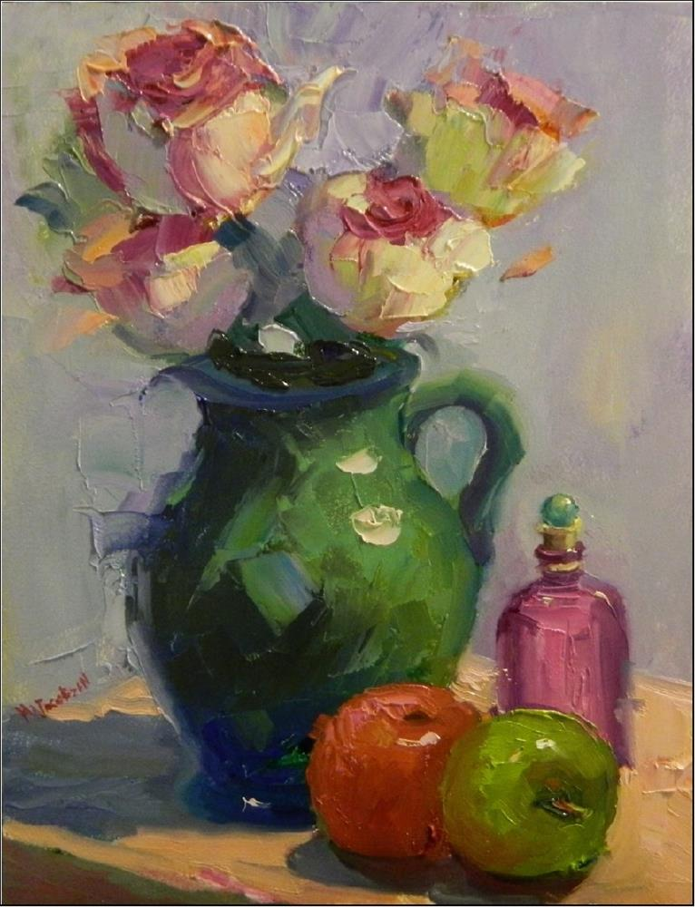 """Verte et Rouge, 11x14, oil on panel, green, red, floral, esperanza rose, apples, still life, palet"" original fine art by Maryanne Jacobsen"
