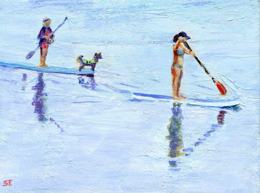 """Dog Paddling"" original fine art by Stanley Epperson"