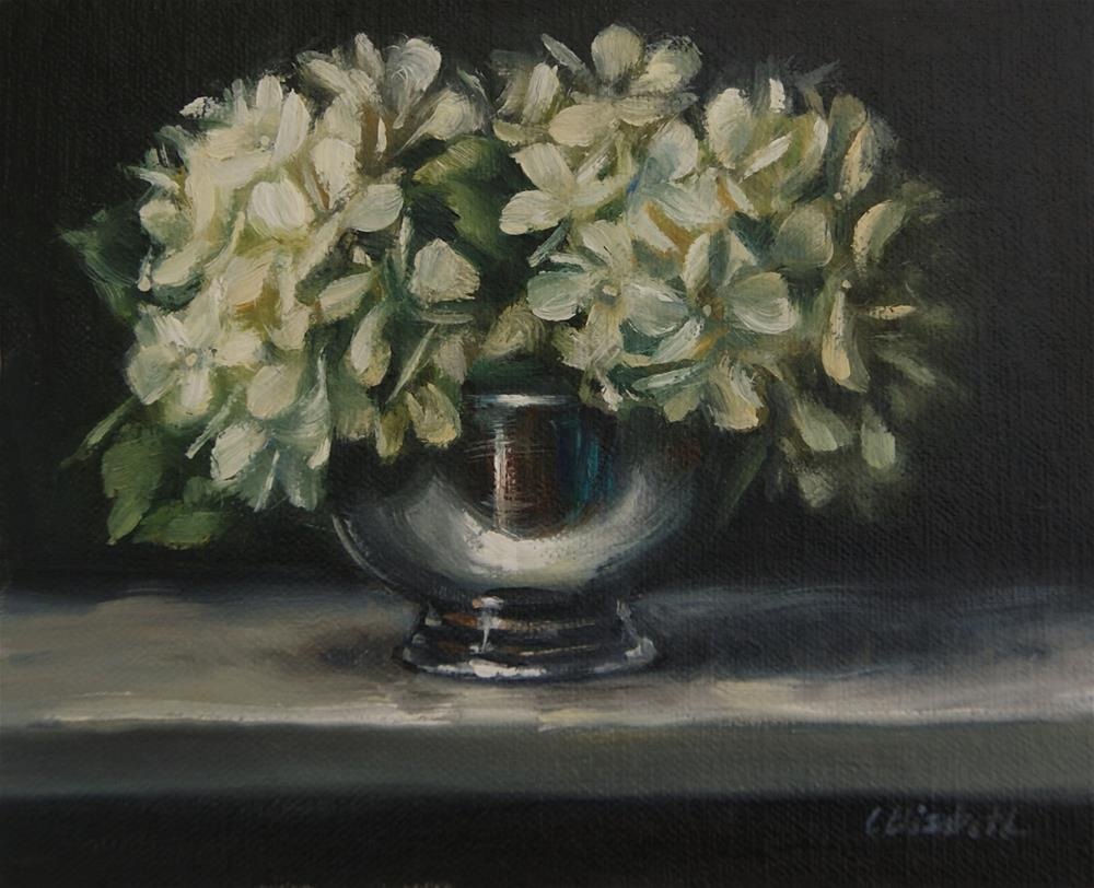 """Still Life with White Hydrangeas in Silver Bowl,  Oil on 5x6 Linen Panel"" original fine art by Carolina Elizabeth"
