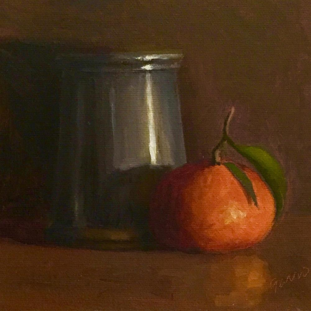"""Pewter Cup & Clementine"" original fine art by Michelle Garro"