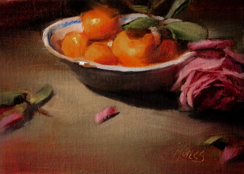 """Bowl of Mandarins"" original fine art by Pamela Blaies"