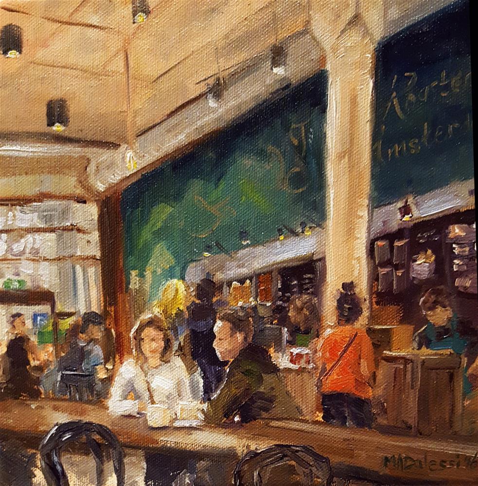 """Coffee at the Damrak"" original fine art by Miranda Dalessi"