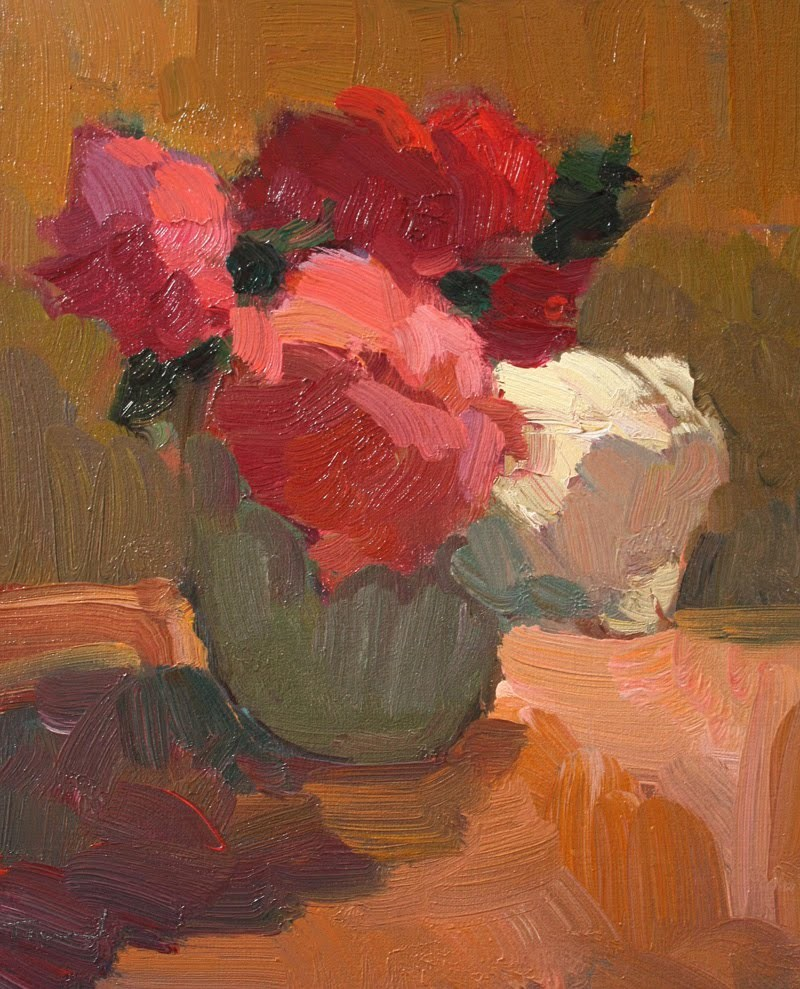 """Flowers in Green Vase"" original fine art by Kathryn Townsend"