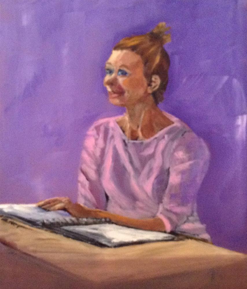 """""""Girl Studying"""" original fine art by Shelley Koopmann"""