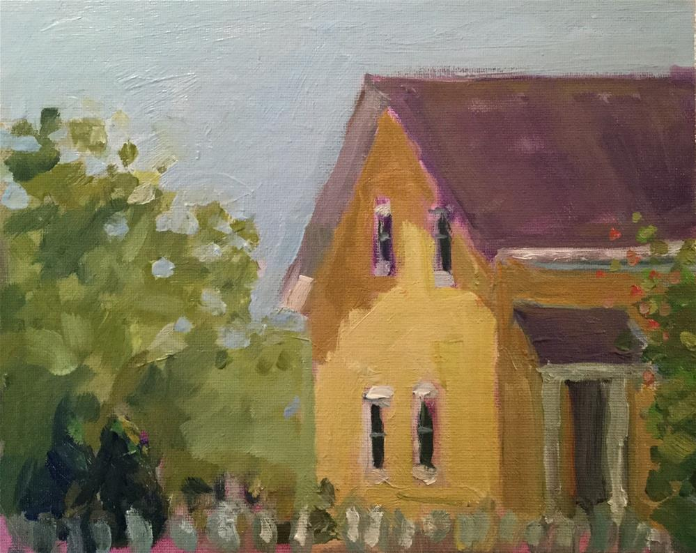 """Yellow House with Trellis"" original fine art by Barb Walker"