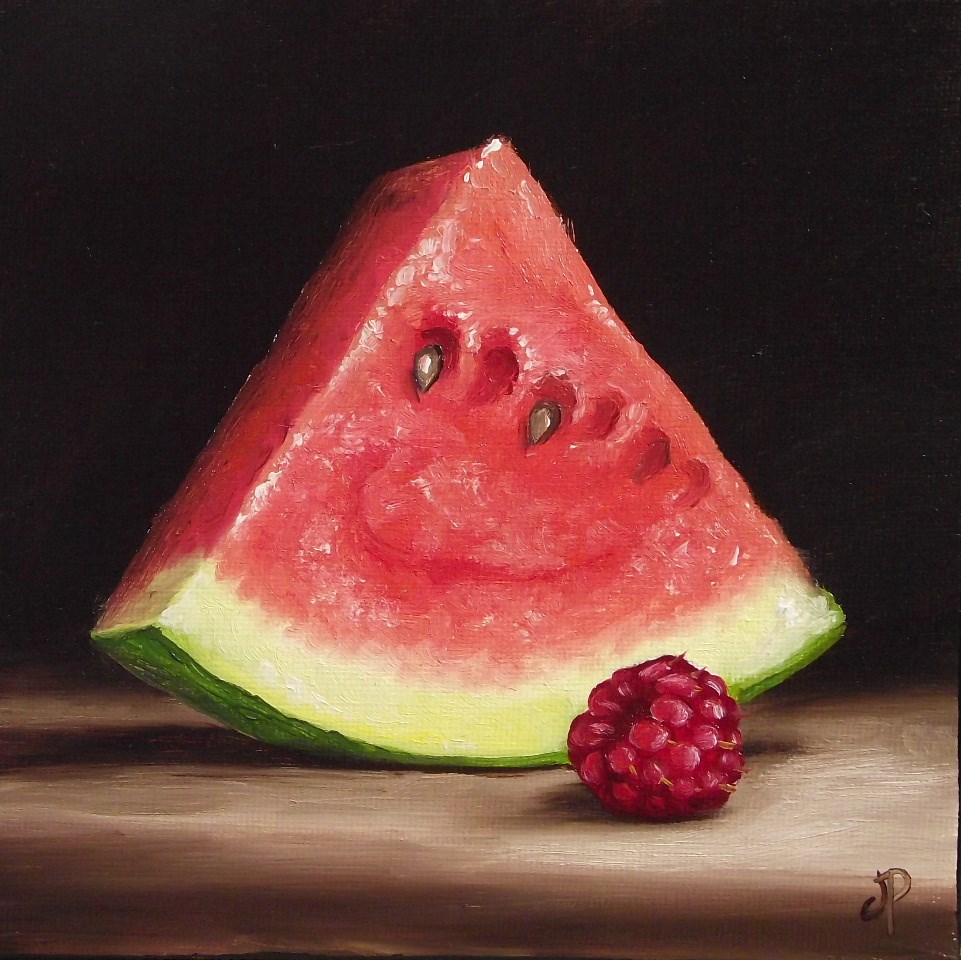 """Watermelon with Raspberry #2"" original fine art by Jane Palmer"
