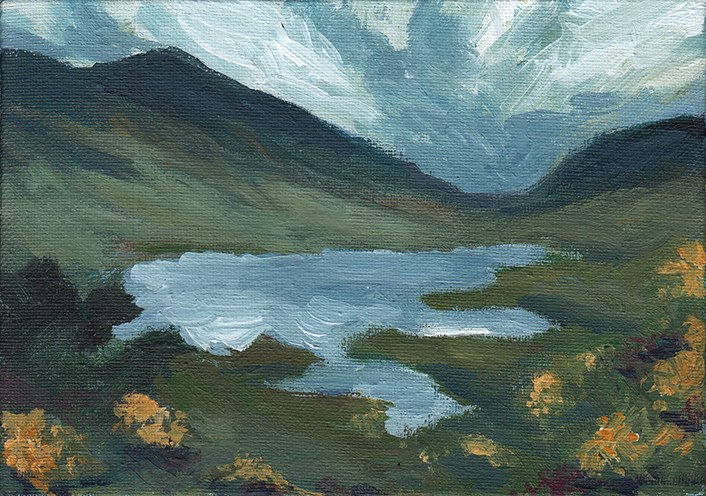 """Irish Lake"" original fine art by J M Needham"