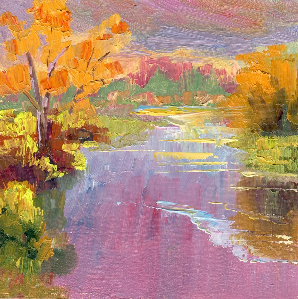"""WETLAND IN FALL COLOR"" original fine art by Karen E Lewis"