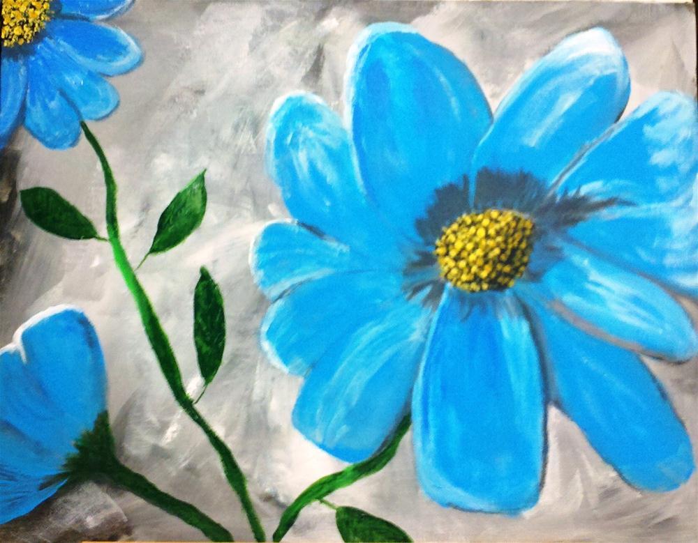 """Blue Flower 2, version 3"" original fine art by Brenda Smith"