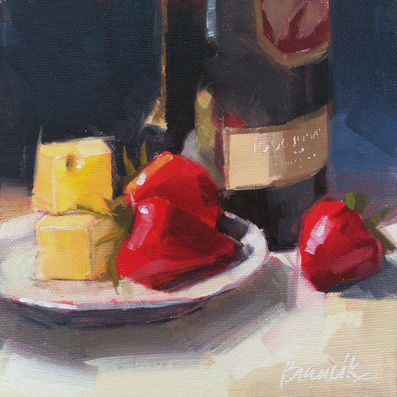 """Strawberries & Wine"" original fine art by Candace Brancik"