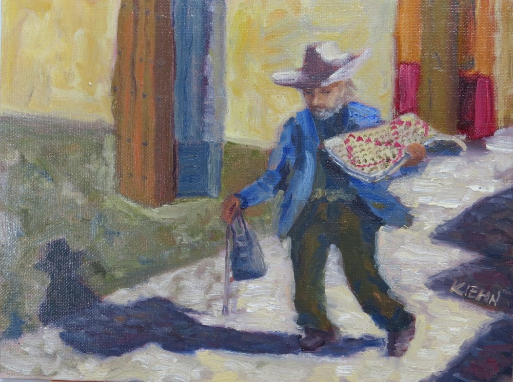 """Woven Matt Vendor"" original fine art by Richard Kiehn"