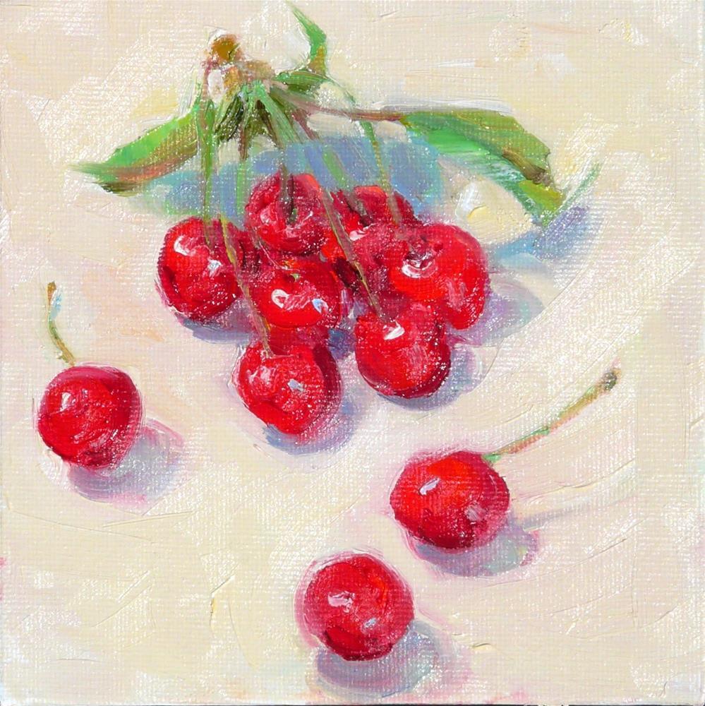 """Cherries,still life,oil on canvas,6x6,price$100"" original fine art by Joy Olney"