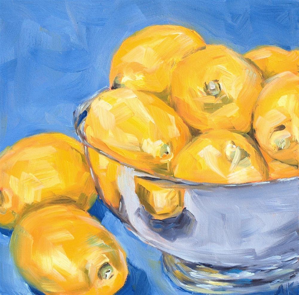 """Lemons in a Silver Bowl"" original fine art by Alison Kolkebeck"
