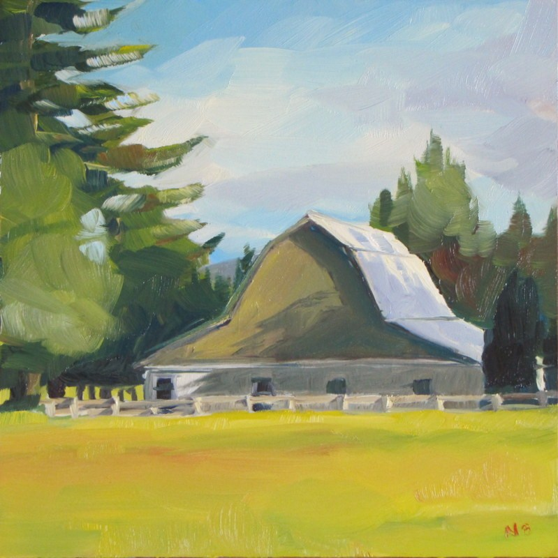 """Brown Barn"" original fine art by Nora Bergman"