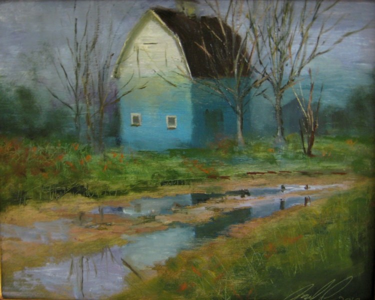 """""""'Fading Blue Barn'"""" original fine art by Justin Clements"""