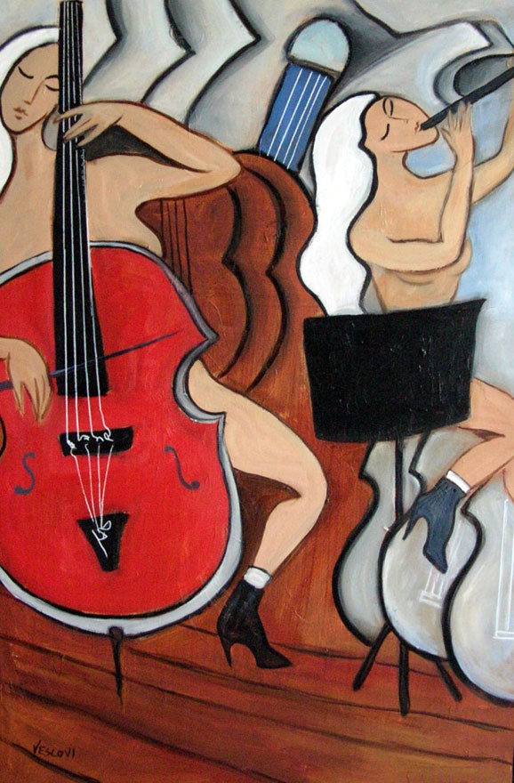 """""""Red Cello"""" original fine art by Valerie Vescovi"""
