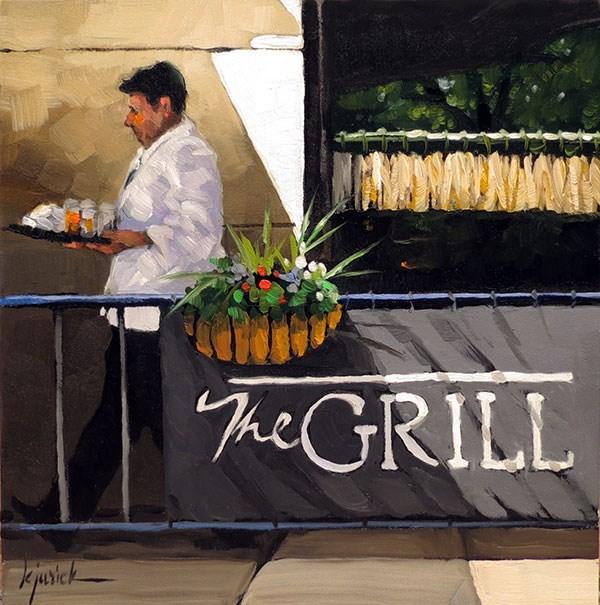 """The Grill"" original fine art by Karin Jurick"