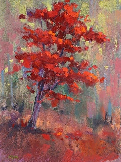 """My Favorite Tip for Painting Red Trees"" original fine art by Karen Margulis"