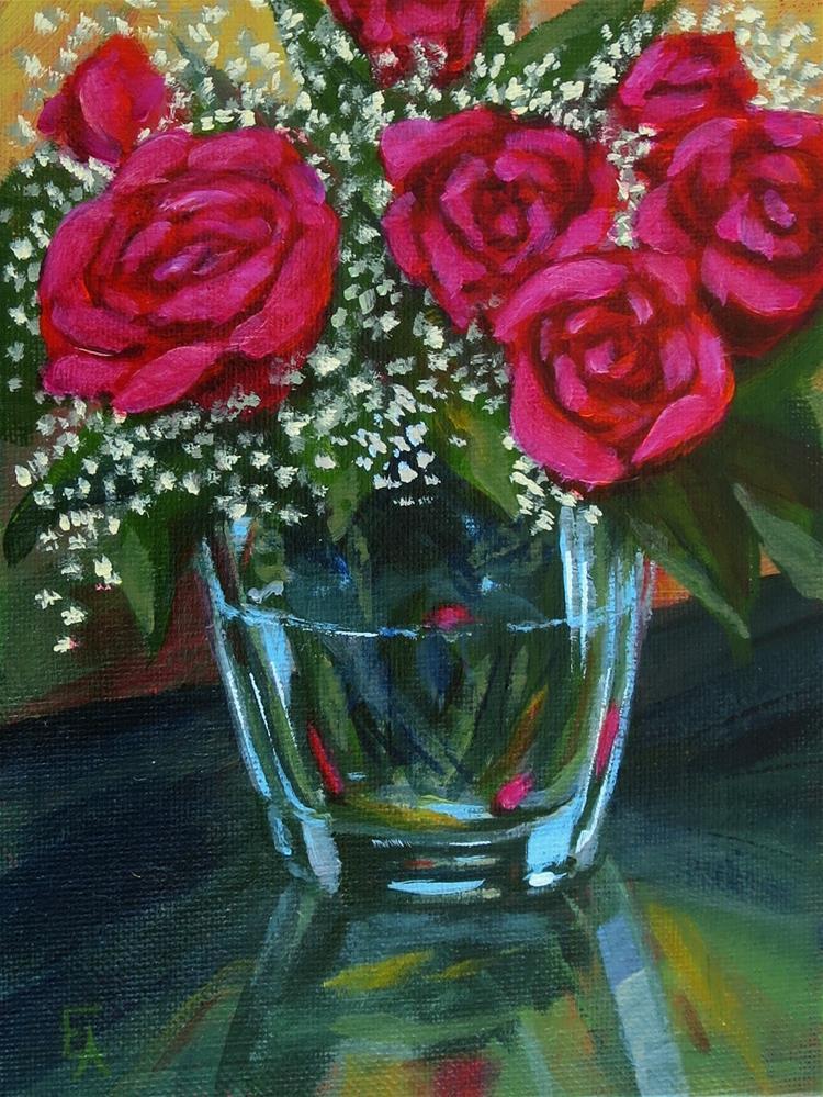 """""""Roses a la Mollica (half price)"""" original fine art by Elizabeth Elgin"""