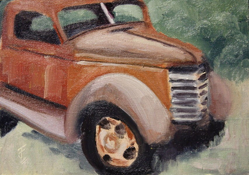 """Old Red"" original fine art by Jane Frederick"