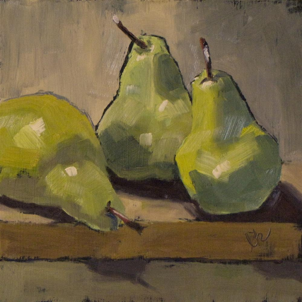 """Three pears on a board"" original fine art by Louise Kubista"