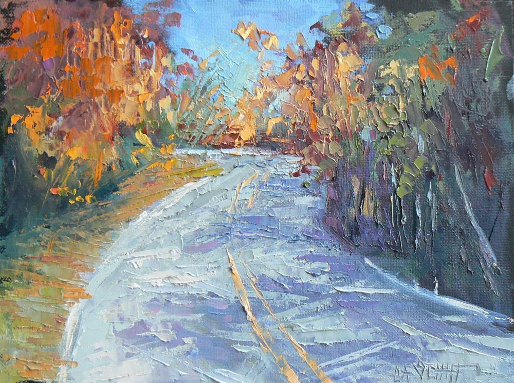 """Daily Landscape Painting, Blue Ridge Switchback 6x8"" original fine art by Carol Schiff"