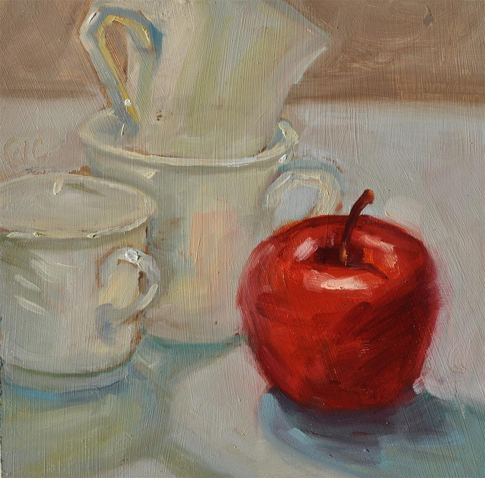 """Red Apple and Cups"" original fine art by Catherine Crookston"