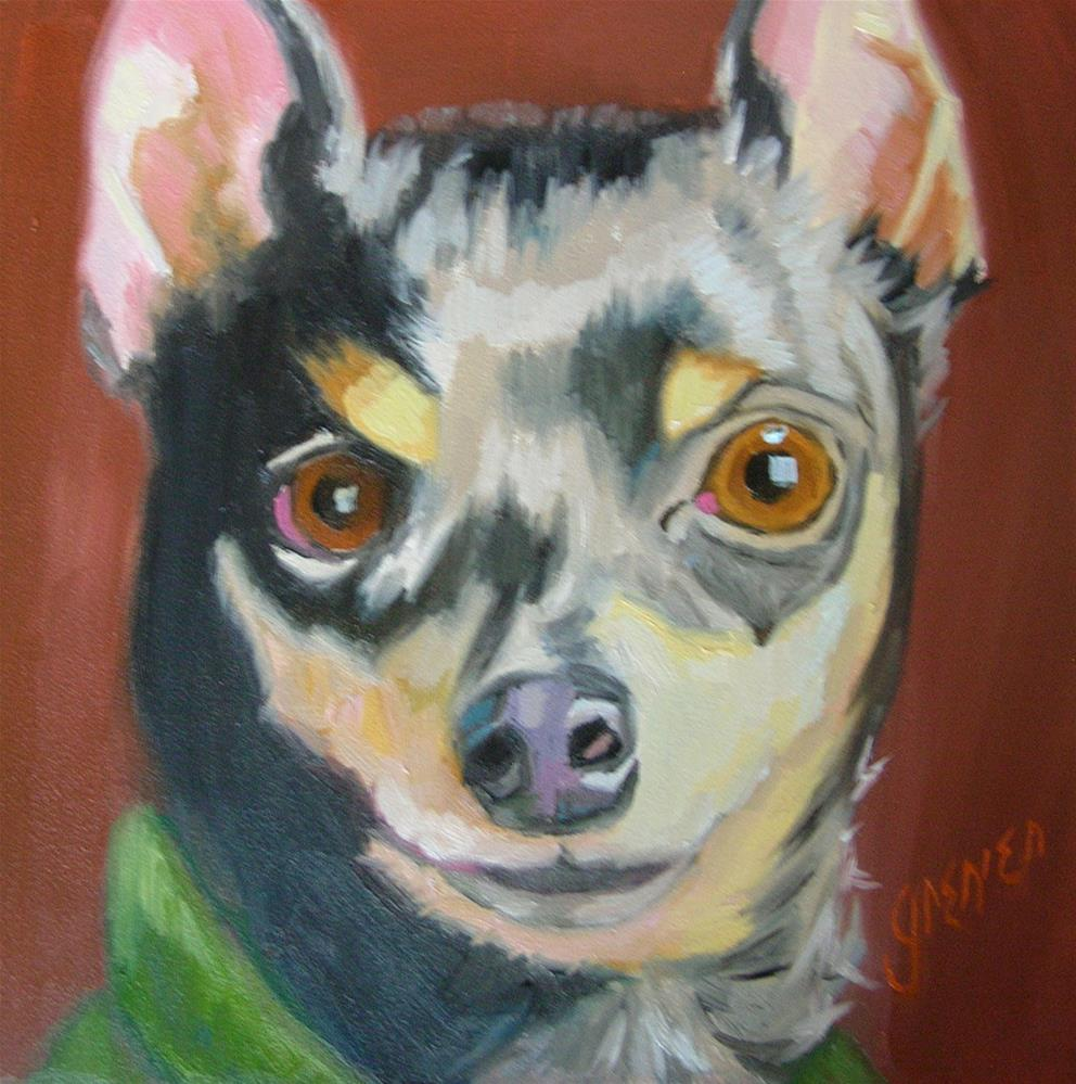 """Little Al the Min Pin"" original fine art by jean grenier"