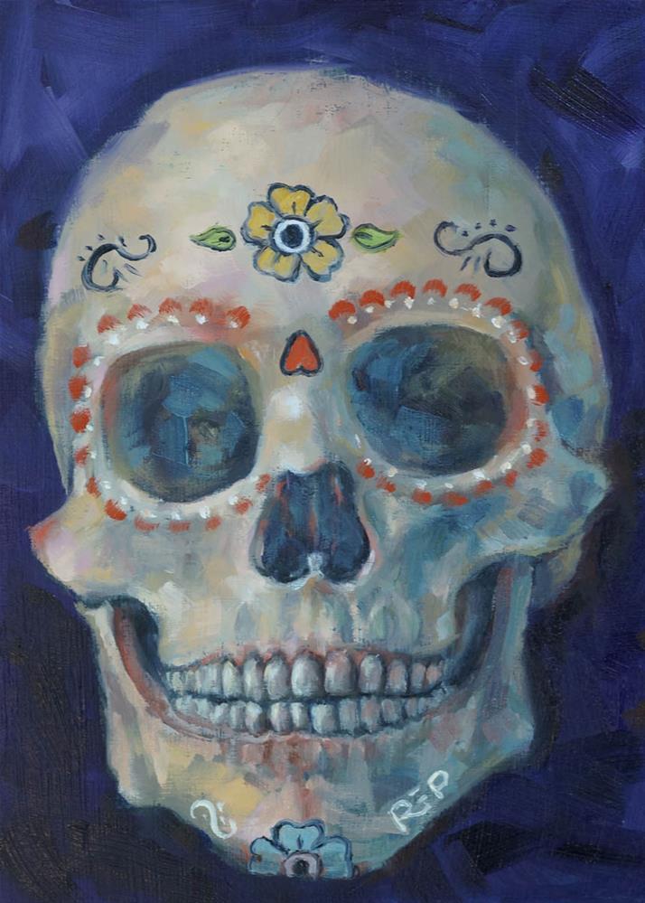 """Sugar Skull"" original fine art by Rhea  Groepper Pettit"