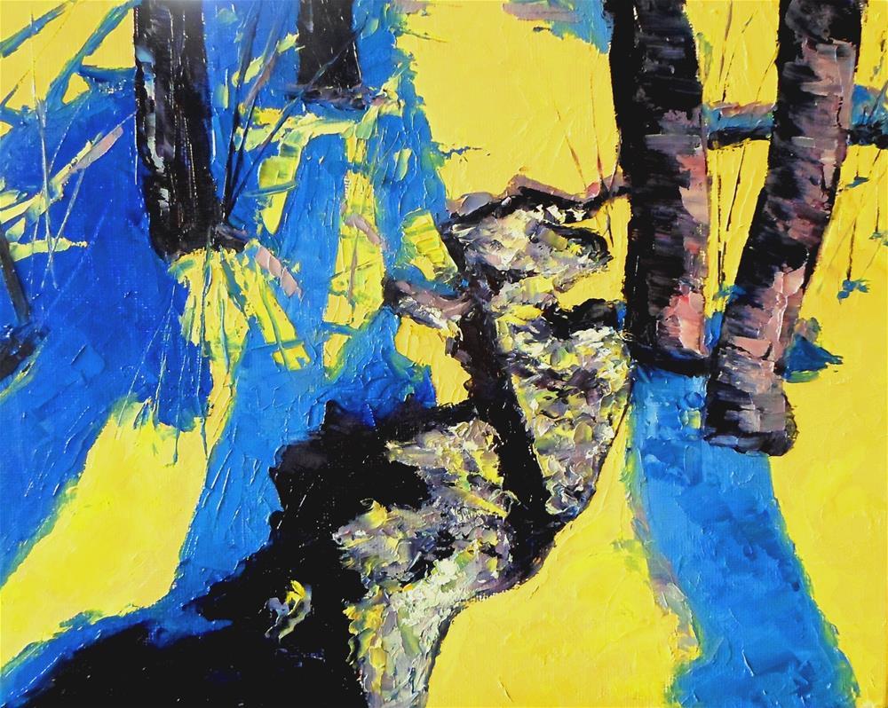 """8 x 10 inch oil Abstract Winter"" original fine art by Linda Yurgensen"