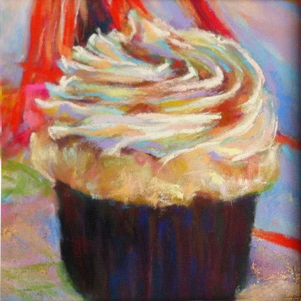 """SOLD - HAPPY, HAPPY! and BOSTON CREAM cupcake pastels by Susan Roden"" original fine art by Susan Roden"