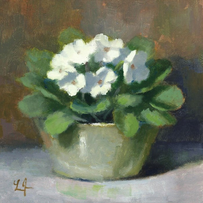 """White Violets miniature"" original fine art by Linda Jacobus"