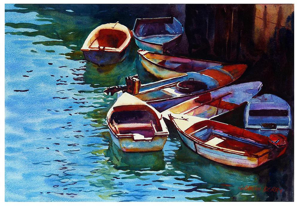 """Small boats"" original fine art by Graham Berry"