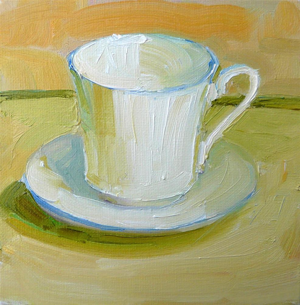 """White Cup,still life,oil on canvas,6x6,price$100"" original fine art by Joy Olney"