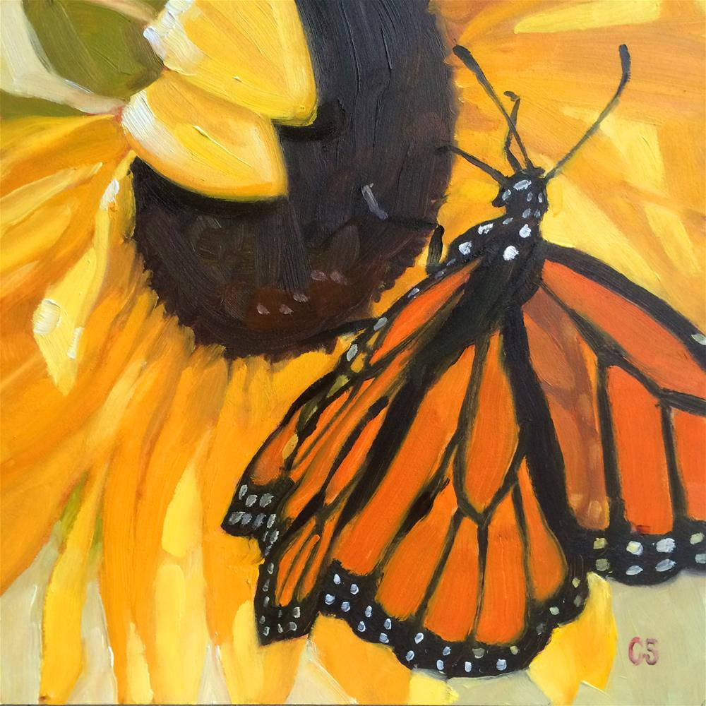 """Butterfly Sunflower"" original fine art by Carol Stickley"