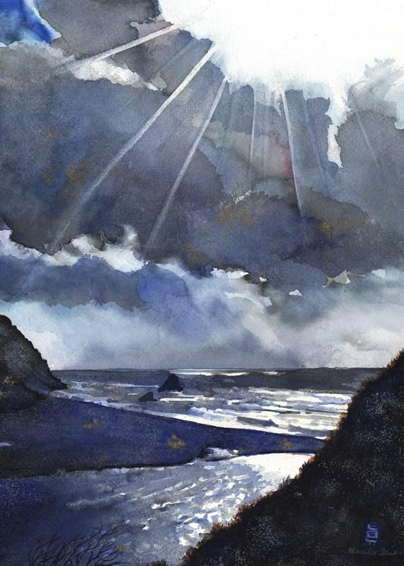 """""""Light at Navarro Beach"""" original fine art by Mariko Irie"""