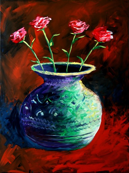 """Mark Webster - Roses in Vase Acrylic Painting 40x30"" original fine art by Mark Webster"