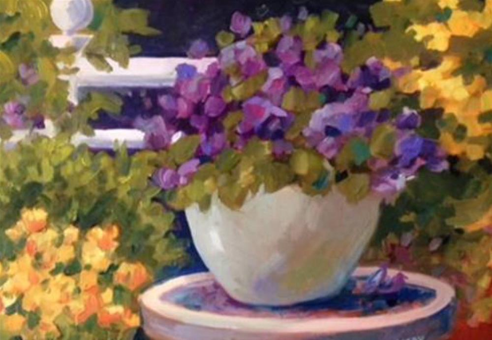 """Moonlight Planter"" original fine art by Libby Anderson"
