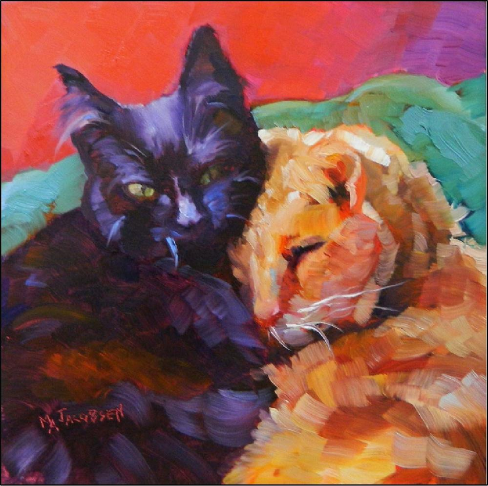 """Best Friends, 8x8, oil on panel-paintings of cats, black cats, tabby cats, impressionist cat, cat couples, pairs of cats, cuddling cats"" original fine art by Maryanne Jacobsen"