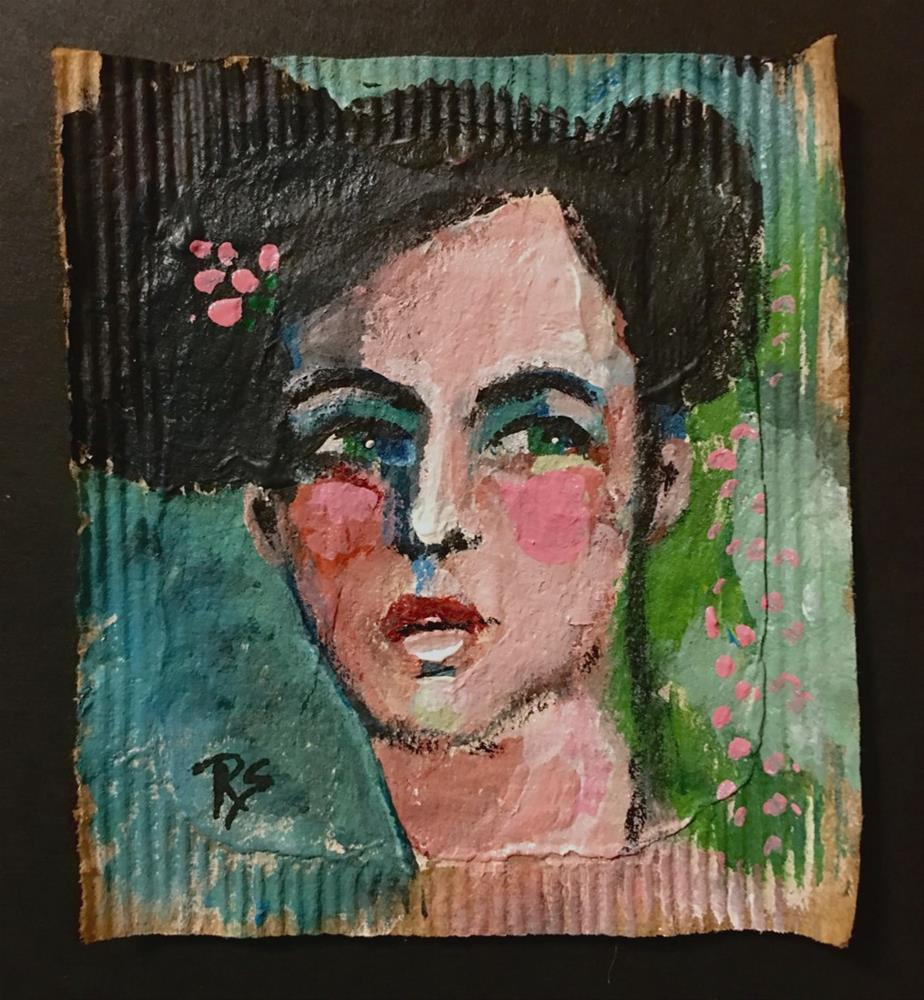 """Tea Bag Portrait - Teresa"" original fine art by Roberta Schmidt"