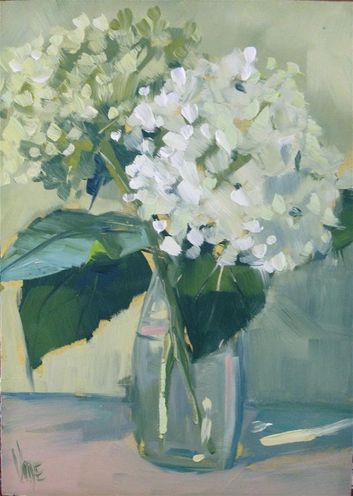 """""""#108 Home Grown Hydrangeas"""" original fine art by Patty Voje"""