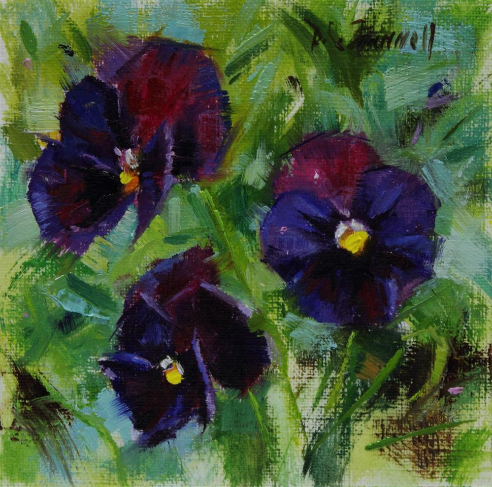 """Pansies"" original fine art by Donna C Farrell"