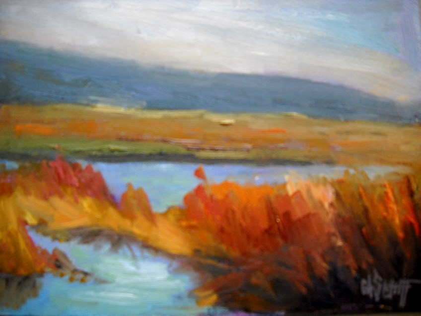 """""""Marsh Landscape Painting, Daily Painting, Small Oil Painting,  North Florida Marsh by Carol Schiff"""" original fine art by Carol Schiff"""