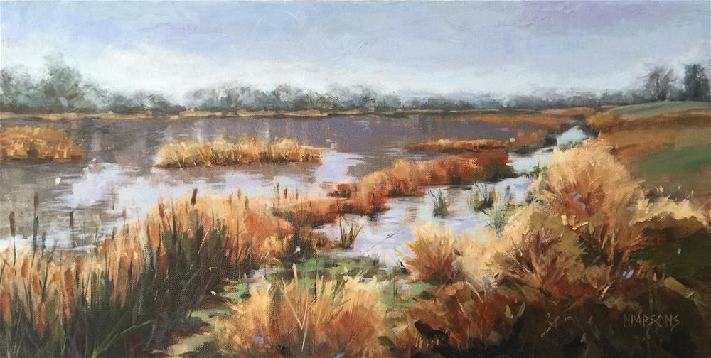 """Pondering On A Pond"" original fine art by Nancy Parsons"